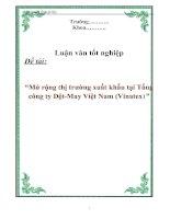 """Tài liệu Luận văn tốt nghiệp """"Mở rộng thị trường xuất khẩu tại Tổng công ty Dệt-May Việt Nam (Vinatex)"""" pptx"""