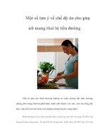 Tài liệu Một số lưu ý về chế độ ăn cho phụ nữ mang thai bị tiểu đường ppt