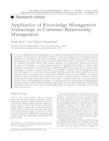Tài liệu Application of Knowledge Management Technology in Customer Relationship Management pptx