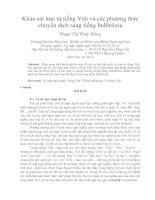 Khảo sát loại từ tiếng việt và các phương thức chuyển dịch sang tiếng inđônêxia