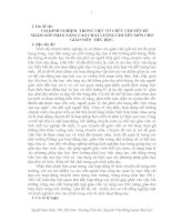 VÀI KINH NGHIỆM TRONG VIỆC tổ CHỨC CHUYÊN đề NHẰM góp PHẦN NÂNG CAO CHẤT LƯỢNG CHUYÊN môn CHO GIÁO VIÊN TIỂU học