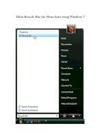Tài liệu Thêm Recycle Bin vào Menu Start trong Windows 7 pptx
