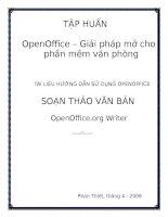Tài liệu Hướng dẫn sử dụng OPENOFFICE_Giải pháp mở cho phần mềm văn phòng docx