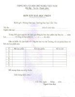 Tài liệu Mẫu đơn xin xóa học phần pdf