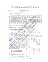 Tài liệu VẬN HÀNH – BẢO TRÌ MÁY BIẾN ÁP, Chương 1 ppt