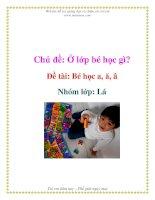 Tài liệu Chủ đề: Ở lớp bé học gì? - Đề tài: Bé học a, ă, â - Nhóm lớp: Lá pptx