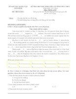 Đề thi học sinh giỏi Tiếng Anh cấp tỉnh lớp 9 có đáp án