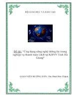 """Tài liệu Luận văn tốt nghiệp """"Ứng dụng công nghệ thông tin trong nghiệp vụ thanh toán LKB tại KBNN Tỉnh Hà Giang"""" docx"""