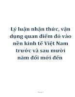 Tài liệu Lý luận nhận thức, vận dụng quan điểm đó vào nền kinh tế Việt Nam trước và sau mười năm đổi mới đến pptx