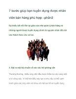 Tài liệu 7 bước giúp bạn tuyển dụng được nhân viên bán hàng phù hợp –phần2 pdf