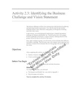 Tài liệu Activity 2.3: Identifying the Business Challenge and Vision Statement ppt