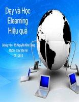 Slide báo cáo TIỂU LUẬN PHƯƠNG PHÁP GIẢNG dạy đại học THEO ELEARNING đề tài dạy và học ELEARNING HIỆU QUẢ