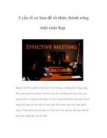 Tài liệu 3 yếu tố cơ bản để tổ chức thành công một cuộc họp doc