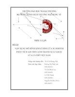 VẬN DỤNG MÔ HÌNH KIM CƯƠNG CỦA M. PORTER PHÂN TÍCH LỢI THẾ CẠNH TRANH XUẤT KHẨU CỦA CÀ PHÊ VIỆT NAM