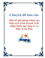 Tài liệu Chuyên đề báo cáo: Một số giải pháp nâng cao hiệu quả kinh doanh xuất nhập khẩu tại công ty cơ điện Trần Phú ppt