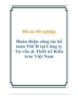 Tài liệu Đồ án tốt nghiệp Hoàn thiện công tác kế toán TSCĐ tại Công ty Tư vấn & Thiết kế Kiến trúc Việt Nam pdf