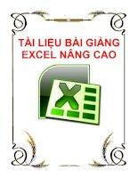 Tài liệu Tài liệu bài giảng excel nâng cao doc