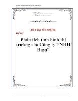 """Tài liệu Luận văn tốt nghiệp """"Phân tích tình hình thị trường của Công ty TNHH Hasa"""" doc"""