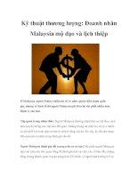 Tài liệu Kỹ thuật thương lượng: Doanh nhân Malaysia mộ đạo và lịch thiệp pptx