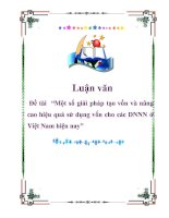 """Tài liệu Luận văn """"Một số giải pháp tạo vốn và nâng cao hiệu quả sử dụng vốn cho các DNNN ở Việt Nam hiện nay"""" docx"""