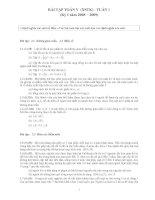 Tài liệu BÀI TẬP TOÁN V (XSTK) - TUẦN 1 (Kỳ I năm 2008 2009) pdf