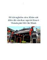 Tài liệu Đề tài nghiên cứu: Khảo sát điền dã văn học người Hoa ở Thành phố Hồ Chí Minh ppt