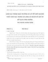 Đề tài Làm sáng tỏ 1 nhận định của Hồ Chí Minh  GIÁO DỤC TRONG NHÀ TRƯỜNG DÙ CÓ TỐT MẤY NHƯNG THIẾU GIÁO DỤC TRONG GIA ĐÌNH VÀ NGOÀI XÃ HỘI THÌ KẾT QUẢ CŨNG KHÔNG THU ĐƯỢC HOÀN TOÀN