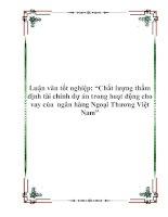 """Tài liệu Luận văn tốt nghiệp: """"Chất lượng thẩm định tài chính dự án trong hoạt động cho vay của ngân hàng Ngoại Thương Việt Nam"""" pptx"""