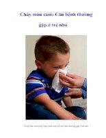 Tài liệu Chảy máu cam: Căn bệnh thường gặp ở trẻ nhỏ pptx