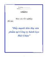 """Tài liệu Luận văn tốt nghiệp """"Đẩy mạnh tiêu thụ sản phẩm tại Công ty bánh kẹo Hải Châu"""" pdf"""