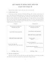 Tài liệu QUY ĐỊNH VỀ HÌNH THỨC ĐỐI VỚI LUẬN VĂN THẠC SĨ ppt