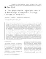 Tài liệu A Case Study on the Implementation of A Knowledge Management Strategy Oriented to Innovation pdf
