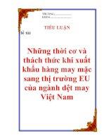 """Tài liệu Tiểu luận: """"Những thời cơ và thách thức khi xuất khẩu hàng may mặc sang thị trường EU của ngành dệt may Việt Nam"""" doc"""