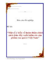 """Tài liệu Luận văn tốt nghiệp """"Một số ý kiến về hoàn thiện chính sách thúc đẩy xuất khẩu các sản phẩm rau quả ở Việt Nam"""" pdf"""