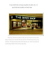 Tài liệu Trang bị kiến thức sử dụng sản phẩm cho nhân viên - bí quyết tiếp thị sản phẩm của Body Shop pdf