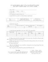 Tài liệu BM.KHCN.05 - Lý lịch khoa học của người đứng đầu tổ chức khoa học và công nghệ pptx