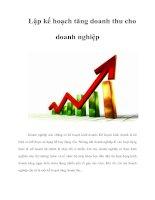 Tài liệu Lập kế hoạch tăng doanh thu cho doanh nghiệp pdf