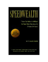 Tài liệu Speedwealth - How to make a milion in your own business in 3 years or less doc