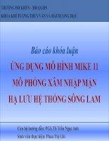 Slide: ỨNG DỤNG MÔ HÌNH MIKE 11 MÔ PHỎNG XÂM NHẬP MẶN HẠ LƯU HỆ THỐNG SÔNG LAM