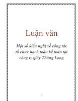 Luận văn Một số kiến nghị về công tác tổ chức hạch toán kế toán tại công ty giầy Thăng Long