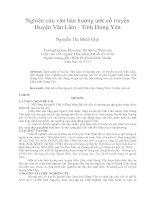 Nghiên cứu văn bản hương ước cổ truyền huyện văn lâm   tỉnh hưng yên