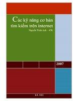 Tài liệu Kỹ năng tìm kiếm dữ liệu trên Internet doc