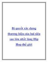 Bí quyết xây dựng thương hiệu của hai siêu sao lớn nhất làng Hip Hop thế docx