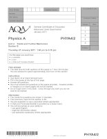 AQA PHYA4 /2 w QP JAN11