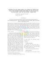 Nghiên cứu xác định giống lạc và mật độ trồng xen thích hợp với mía trong điều kiện có che phủ nilon vụ xuân 2005 - 2007 tại Thọ Xuân - Thanh Hoá pptx