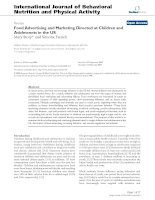 Food Advertising and Marketing Directed at Children and Adolescents in the US pot