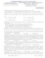 Đề thi thử môn vật lý trường THPT Thanh Thuỷ