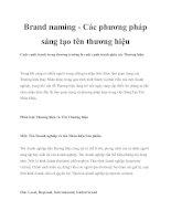 Brand naming - Các phương pháp sáng tạo tên thương hiệu potx