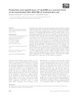 Báo cáo khoa học: Properties and significance of apoFNR as a second form of air-inactivated [4Fe-4S]ÆFNR of Escherichia coli pot