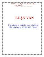LUẬN VĂN: Hoàn thiện tổ chức kế toán vốn bằng tiền tại công ty TNHH Việt Chính doc